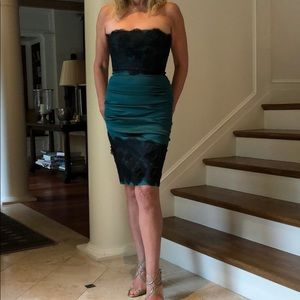 BCBG Cocktail Dress green with black lace
